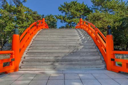 formally: Taiko Bashi (Drum Bridge or formally Sori Bashi) at Sumiyoshi Grand Shrine in Osaka, Japan Editorial