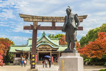 osakajo: Statue of Toyotomi Hideyoshi in Osaka, Japan