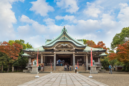 osakajo: OSAKA, JAPAN - OCTOBER 25: Hokoku Shrine in Osaka, Japan on October 25, 2014. Built in Nakanoshima in 1879, dedicated to Toyotomi Hideyoshi and moved to current location in Osaka Castle Park in 1961 where its grounds almost tripled in size Editorial