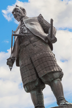 osakajo: OSAKA, JAPAN - OCTOBER 25: Statue of Toyotomi Hideyoshi in Osaka, Japan on October 25, 2014. A preeminent daimyo, warrior, general and politician of the Sengoku period, his statue situated in front of Hokoku shrine