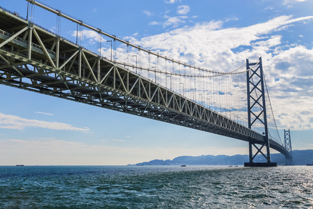 span: Akashi-Kaikyo Bridge in Kobe, Japan  KOBE, JAPAN - OCTOBER 25:  Akashi-Kaikyo Bridge in Kobe, Japan on October 25, 2014. Links Kobe mainland to Iwaya on Awaji Island, the bridge has the longest central span of any suspension bridge in the world