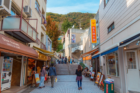 eras: KOBE JAPAN  OCTOBER 26: Kitano District in Kobe Japan on October 26 2014. A historical district in Kobe contains a number of foreign residences from the late Meiji and early Taisho eras of Japanese history