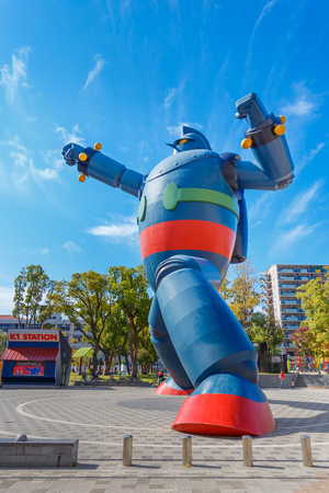 KOBE, JAPAN - OCTOBER 26: Gigantor Robot in Kobe, Japan on October 26, 2014. Built to commemorate the 15th anniversary of the Great Hanshin earthquake, symbolises Kobes revival and as a guardian from future disasters
