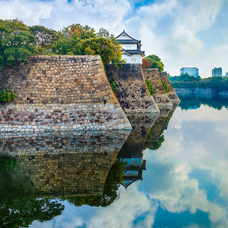 osakajo: Moat of Osaka Castle in Osaka, Japan  OSAKA, JAPAN - OCTOBER 27: Osaka Castle in Osaka, Japan on October 27, 2014. One of Japans most famous and played a major role in the unification of Japan during the 16th century