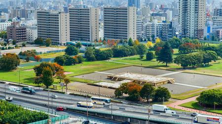 local 27: OSAKA JAPAN  OCTOBER 27: Naniwa NagaraToyosaki Palace in Osaka Japan on October 27 2014. Ruins of the ancient palace were found by a local archaeologist Tokutaro Yamane in 1957