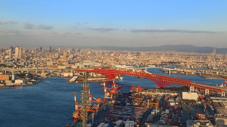 linkages: OSAKA JAPAN  OCTOBER 28: Osaka Bay in Osaka Japan on October 28 2014. Industries locate around Osaka Bay because there are skilled and plentiful workforce many port facilities efficient linkages