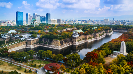 Osaka Castle in Osaka, Japan  OSAKA, JAPAN - OCTOBER 27: Osaka Castle in Osaka, Japan on October 27, 2014. One of Japans most famous and played a major role in the unification of Japan during the 16th century Editorial