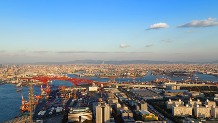OSAKA, JAPAN - OCTOBER 28: Osaka Bay in Osaka, Japan on October 28, 2014. Industries locate around Osaka Bay because there are skilled and plentiful workforce, many port facilities, efficient linkages Editorial