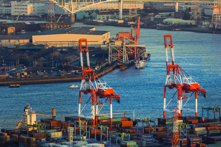linkages: OSAKA, JAPAN - OCTOBER 28: Osaka Bay in Osaka, Japan on October 28, 2014. Industries locate around Osaka Bay because there are skilled and plentiful workforce, many port facilities, efficient linkages Editorial