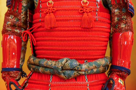 OSAKA, JAPAN - OCTOBER 29: Replica Of Sanada Yukimura Armor in Osaka, Japan on October 29, 2014. The armor is displayed at Hotel Nikko Kansais Lobby while the real armor is in the Osaka Castle Museum