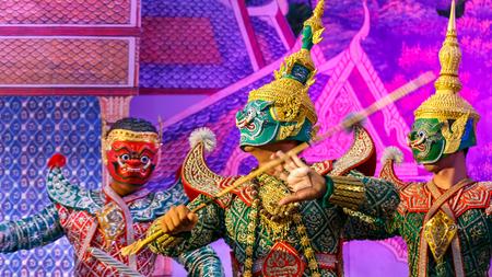 BANGKOK, THAILAND - APRIL 12: Songkran Festival in Bangkok, Thailand on October 12, 2014. Khon (Thai traditional mask dance) performed in Songkran festival to calebrate Thai traditional new years at Silom road