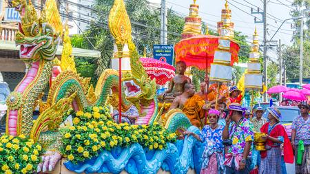 silom: BANGKOK, THAILAND - APRIL 14: Songkran Festival in Bangkok, Thailand on October 14, 2014. Participants in a Songkran Festival parade which celebrated as Thai traditional New Years at Silom road
