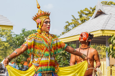 traditional culture: BANGKOK, THAILAND - JANUARY 18: Thai Culture Festival in Bangkok, Thailand on January 18, 2014. Participants take part in the celebration of Thai Traditional Culture Festival at Lumpini Park