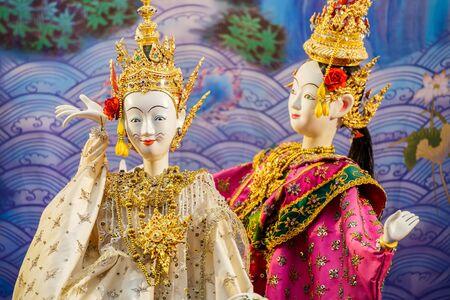 silom: BANGKOK, THAILAND - APRIL 12: Songkran Festival in Bangkok, Thailand on April 12, 2015. Thai traditional  puppet performed in Songkran festival to calebrate Thai traditional new years at Silom road
