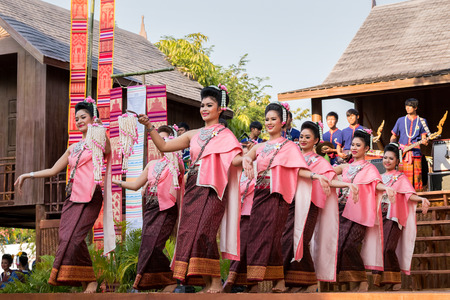 traditional culture: BANGKOK, THAILAND - JANUARY 16: Thai Culture Festival in Bangkok, Thailand on January 16, 2015. Participants take part in the celebration of Thai Traditional Culture Festival at Lumpini Park Editorial