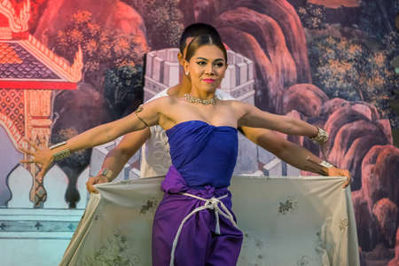 silom: BANGKOK, THAILAND - APRIL 10: Songkran Festival in Bangkok, Thailand on April 10, 2015. Unidentified participants perform Thai traditional cloth dance in Songkran festival at Silom road Editorial