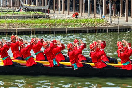hearse: BANGKOK, THAILAND - DECEMBER 17: Thai Royal Barge in Bangkok, Thailand on December 17, 2014. Unidentified group of Thai royal marines re·hearse the sail of the Thai royal barge procession