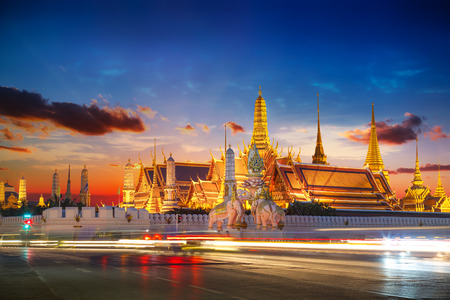 temple tower: Wat Phra Kaew - the Temple of Emerald Buddha in Bangkok, Thailand
