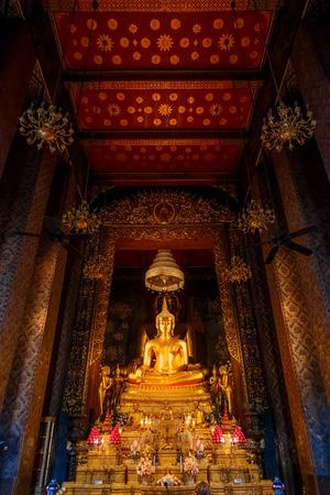 wat bowon: Buddha Statue at Wat Bovorn Bowon Nivet Viharn in Bangkok, Thailand Editorial