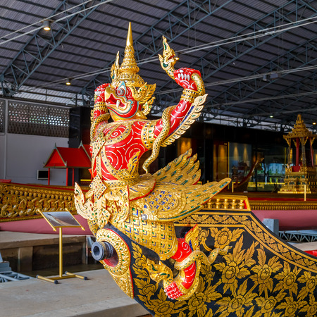 royal family: BANGKOK, THAILAND - DECEMBER 17: Thai Royal Barge in Bangkok, Thailand on December 17, 2014. The Thai royal barges are used in the royal family during tradition reliogius procession to royal temple