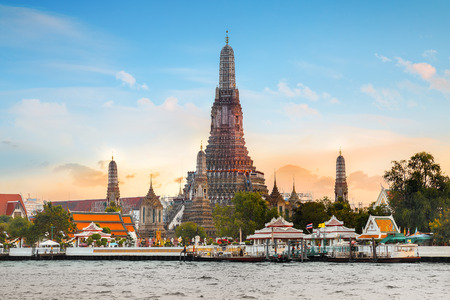 temple tower: Wat Arun- the Temple of Dawn in Bangkok, Thailand