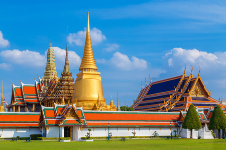 thailand art: Wat Phra Kaew - the Temple of Emerald Buddha in Bangkok, Thailand