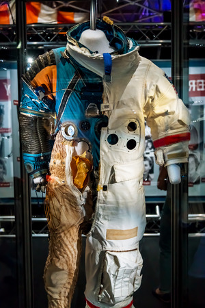 sattelite: BANGKOK, THAILAND - DECEMBER 20: NASA Exhibition in Bangkok, Thailand on December 20, 2014. Space suit that used in NASA missions
