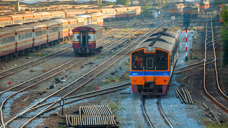 diesel locomotives: Old Diesel Locomotives and Trains in Bangkok, Thailand Editorial