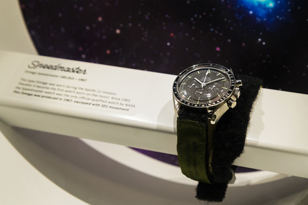 sattelite: BANGKOK, THAILAND - DECEMBER 20: NASA Exhibition in Bangkok, Thailand on December 20, 2014. The Omega Speedmaster watch which were actually worn in the space in NASA missions