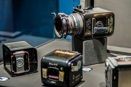 sattelite: BANGKOK, THAILAND - DECEMBER 20: NASA Exhibition in Bangkok, Thailand on December 20, 2014. The camera that used in almost all NASA mision Editorial