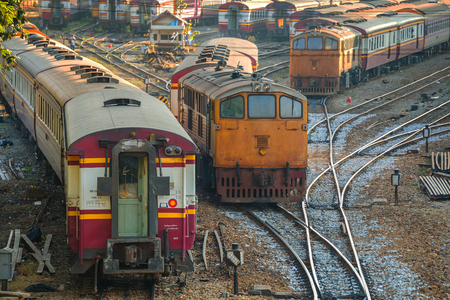 thailand: Old Diesel Locomotives and Trains in Bangkok, Thailand Editorial