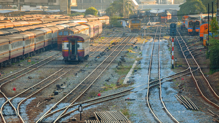 locomotives: Old Diesel Locomotives and Trains in Bangkok, Thailand Editorial