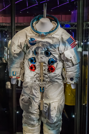 space suit: BANGKOK, THAILAND - DECEMBER 20: NASA Exhibition in Bangkok, Thailand on December 20, 2014. Space suit that used in NASA missions