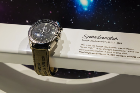 nasa: BANGKOK, THAILAND - DECEMBER 20: NASA Exhibition in Bangkok, Thailand on December 20, 2014. The Omega Speedmaster watch which were actually worn in the space in NASA missions