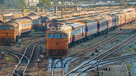 grudge: Old Diesel Locomotives and Trains in Bangkok, Thailand Editorial