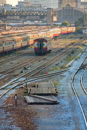 grudge: Old Diesel Locomotives and Trains in Bangkok, Thailand Stock Photo