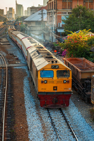 diesel locomotives: Old Diesel Locomotives and Trains in Bangkok, Thailand  BANGKOK, THAILAND - DECEMBER 30: Hua Lamphong Station in Bangkok, Thailand on December 30, 2014. Opened in June 1916, its the first and still be a major train station in Thailand