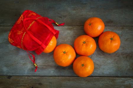 Oranges witha Red Pouch Prepared for Chinese New Year