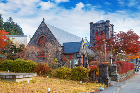 mcdonald: The Nikko Shinko Church Chapel in Nikko, Tochigi, Japan  NIKKO, JAPAN - NOVEMBER 17, 2015: Built frome stones by the American James McDonald Gardiner, Nikko Shinko Church Chapel located 800m west of Toshogu shrine