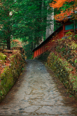 the world heritage: Nikko Futarasan Shrine in Nikko, Tochigi, Japan  NIKKO, JAPAN - NOVEMBER 17, 2015: Nikko Futarasan shrine located between Tosho-gu shrine and Taiyu-in Mausoleum in the Shrines and Temples of Nikko - a UNESCO world heritage site Editorial