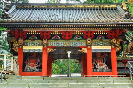 benevolent: Omotemon Gate or Niomon Gate in front of Nikko Toshogu Shrine in Nikko, Tochigi, Japan  NIKKO, JAPAN - NOVEMBER 17, 2015: Omotemon Gate or Niomon Gate in front of Nikko Toshogu Shrine Editorial