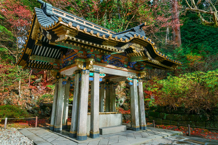 purification: Chuzuya (or Temizuya) purification area at Taiyuinbyo - the Mausoleum of Shogun Tokugawa Iemitsu  NIKKO, JAPAN - NOVEMBER 17, 2015: Chuzuya (or Temizuya) purification area at  Taiyuinbyo - the Mausoleum of Shogun Tokugawa Iemitsu