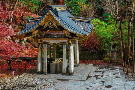 purification: Chuzuya (or Temizuya) purification area at Taiyuinbyo - the Mausoleum of Shogun Tokugawa Iemitsu  NIKKO, JAPAN - NOVEMBER 17, 2015: Chuzuya (or Temizuya) purification area at  Taiyuinbyo - the Mausoleum of Shogun Tokugawa Iemitsu, the grandson of Ieyasa : Editorial