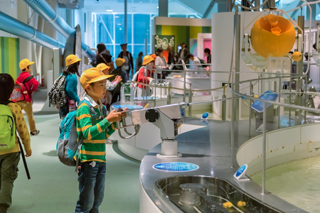 NAGOYA, JAPAN - NOVEMBER 18, 2015: Nagoya City Science Museum houses the largest planetarium in the world, it portrays life sciences and general science with a variety of hands-on exhibits 에디토리얼