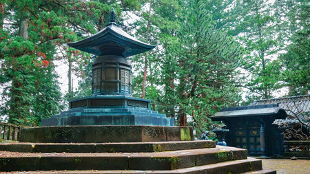 urn: The tomb with urn contains the remains of Tokugawa Ieyasu in Tosho-gu shrine  in Nikko, Tochigi, Japan   NIKKO, JAPAN - NOVEMBER 17, 2015: The tomb with urn contains the remains of Tokugawa Ieyasu in Tosho-gu shrine