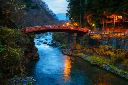 ranked: Nikko, Japan - November 16 2015: Shinkyo (Sacred Bridge) stands at the entrance to Futarasan Shrine. The bridge is ranked as one of Japans finest bridges