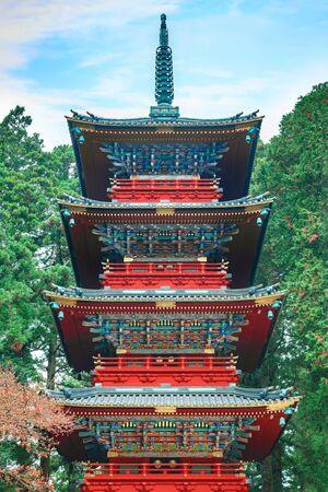 storied: Gojunoto - Five storied pagoda situated in front of Nikko Tosho-gu shrine  NIKKO, JAPAN - NOVEMBER 17, 2015: Gojunoto - Five storied pagoda situated in front of Nikko Tosho-gu shrine