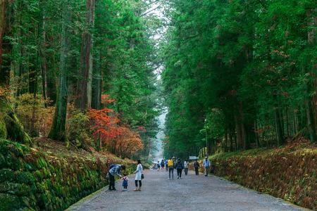 NIKKO, JAPAN - NOVEMBER 17, 2015: People on the way to Nikko Toshogu shrine, one of UNESCO world heritage sites Stock Photo - 55766174