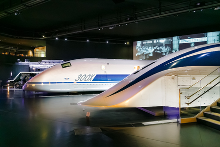simulators: NAGOYA, JAPAN - NOVEMBER 18, 2015: The SCMaglev and Railway Park features 39 full-size railway vehicles and one bus exhibit, train cab simulators, and railway model dioramas