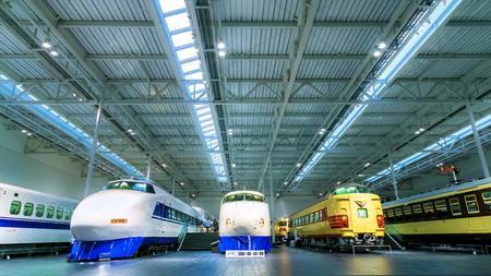 simulators: NAGOYA, JAPAN - NOVEMBER 18, 2015: The SCMaglev and Railway Park features 39 full-size railway vehicles and one bus exhibit, train cab simulators, and railway model dioramas